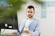 Young businessman in office with computer and cell phone - UUF002826