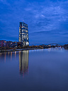 Germany, Frankfurt, River Main with ECB Tower and new campus - AMF003417