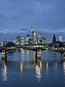 Germany, Frankfurt, River Main with Ignatz Bubis Bridge, skyline of finanial district in background - AMF003412