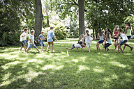Boys and girls competing in tug of war - ZEF002824