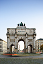 Germany, Bavaria, Munich, Siegestor at blue hour - BR000889