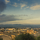 Spain, Baleares, Mallorca, Capdepera, view to old town at sunrise - DWIF000323