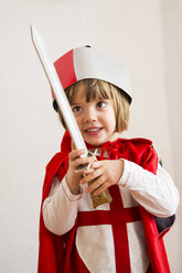 Portrait of little girl masquerade as a knight - LVF002458