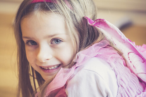 Portrait of smiling little girl masquerade as a fairy - SARF001155