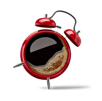 Red alarm clock with black coffee - RAMF000003