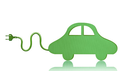 Green electric car toy in front of white background - RAMF000014