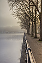 Germany, Hamburg, trees and sidewalk next to the foggy Alster lake - NKF000215