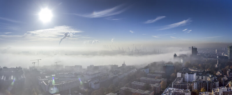Germany, Hamburg, Elbe River and city in dense fog - NKF000227