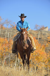 USA, Wyoming, Big Horn Mountains, riding cowboy in autumn - RUEF001340