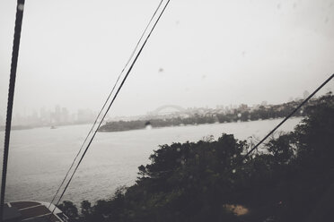 View, Sydney, Circular Quai, Harbour Bridge, Rain, view from Taronga Zoo funicular, New South Wales, Australia - SBD001568