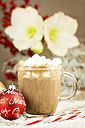 Christmas bauble, sugar cane and glass of hot chocolate with cream and marshmallows on artifical snow - JUNF000123