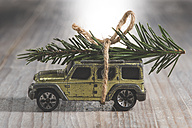 SUV car toy with Christmas tree on roof - DEGF000090