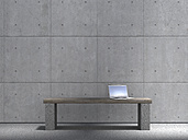 Laptop standing on bench in front of concrete wall, 3D Rendering - UWF000296