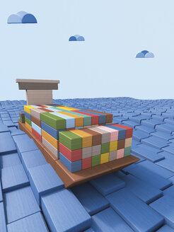 Shipping container ship made of building bricks, 3D Rendering - UWF000292