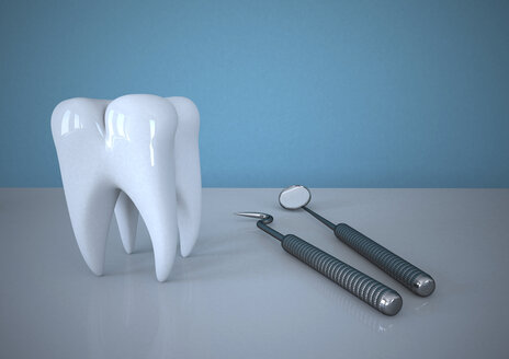 3D Rendering, Tooth With Dentist Tools - ALF000265