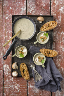 Creme of mushroom soup, croutons and baguette on tray - ECF001634