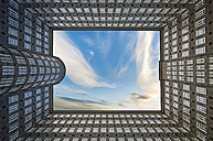 Germany, Hamburg, view to facades at yard of Sprinkenhof at Kontorhaus Quarter from below - RJ000376