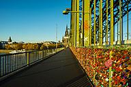 Germany, North Rine-Westphalia, Cologne, Love locks at Hohenzollernn Bridge - WGF000557