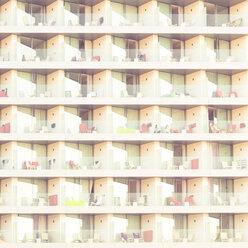 Spain, Mallorca, Cala Ratjada, facade with balconies of hotel - DWIF000362