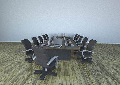 Empty conference room with laptops - ALF000276