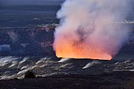 USA, Hawaii, Big Island, Volcanoes National Park, Kilauea caldera with volcanic eruption of Halemaumau - BRF000916