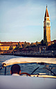 Italy, Venice, boat and driver with St Mark's Campanile in the background - EHF000037