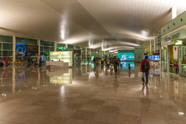 Spain, Canary Islands, Lanzarote, Arrecife, interior view of lighted airport in the morning - AM003542