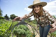 Smiling female gardener scovering plants with net - ZEF004040
