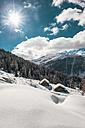 Austria, Salzburg State, Altenmarkt-Zauchensee, ski area at sunlight - HHF005013