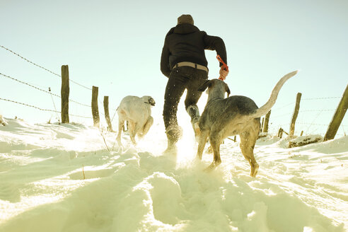 Germany, Bergisches Land, man running with dogs in winter landscape - ONF000738