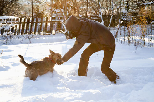 Man photographing and playing with dog in snow - NDF000507