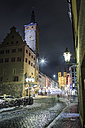 Germany, Bavaria, Wuerzburg, Domstrasse and Cathedral at night - VT000377