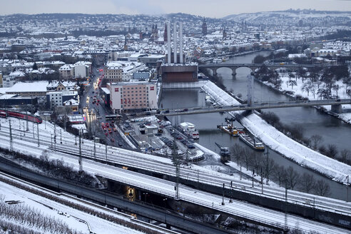 Germany, Wuerzburg, cityscape with River Main in winter - NDF000489