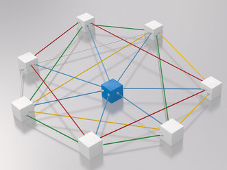 3D rendering of cubes tied up with rope - UWF000310