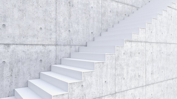 3D rendering of interior concrete wall and stairs - UWF000316