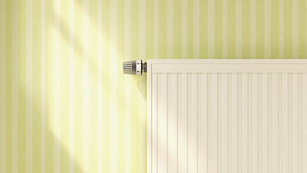 3D rendering of heater at patterned wallpaper - UWF000325