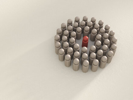 3D rendering of group of game pieces circling red game piece - UWF000328