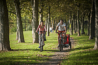 Family riding bicycle in park - PAF001158