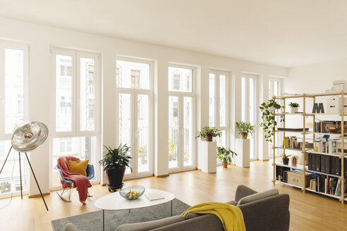 Living room and shelf with plants in modern house - MFF001397