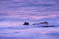 Spain, Canary Islands, La Gomera, Valle Gran Rey, rocks in the sea at evening light - SIEF006358