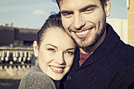 Portrait of happy young couple outdoors - MEMF000636