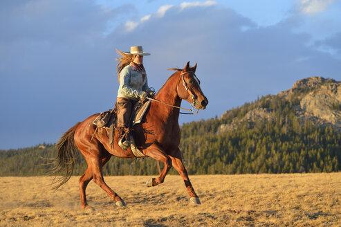 USA, Wyoming, riding cowgirl - RUEF001396