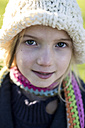 Portrait of girl wearing wool cap and scarf - MGOF000005