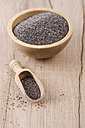 Wooden bowl of chia seeds and wooden shovel on wood - ODF001008