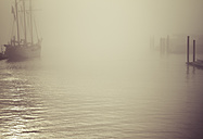 Germany, Hamburg, sailing ship in fog - KRPF001174
