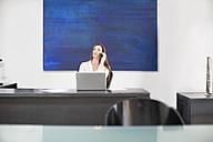 Businesswoman in modern office talking on phone - ZEF003108