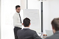 Businessman in boardroom leading a meeting with flip chart - ZEF003121