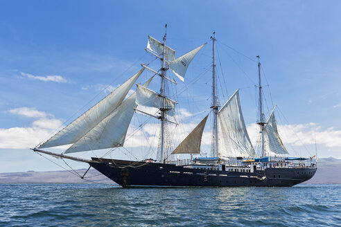 Pacific Ocean, sailing ship under sail at Galapagos Islands - FOF007559