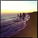 cliff, sunset, seven sisters, beach, water, sea, erosion, princetown, city victoria, australia - LUL000033