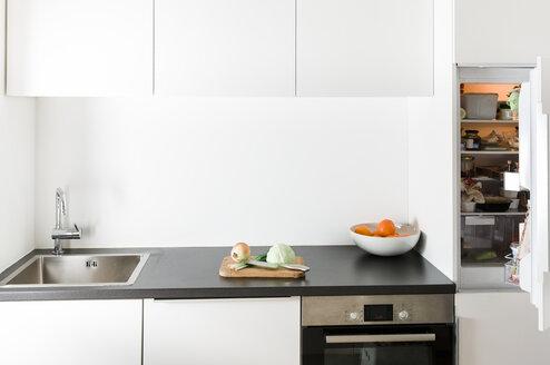 Modern kitchen, open fridge - FLF000821